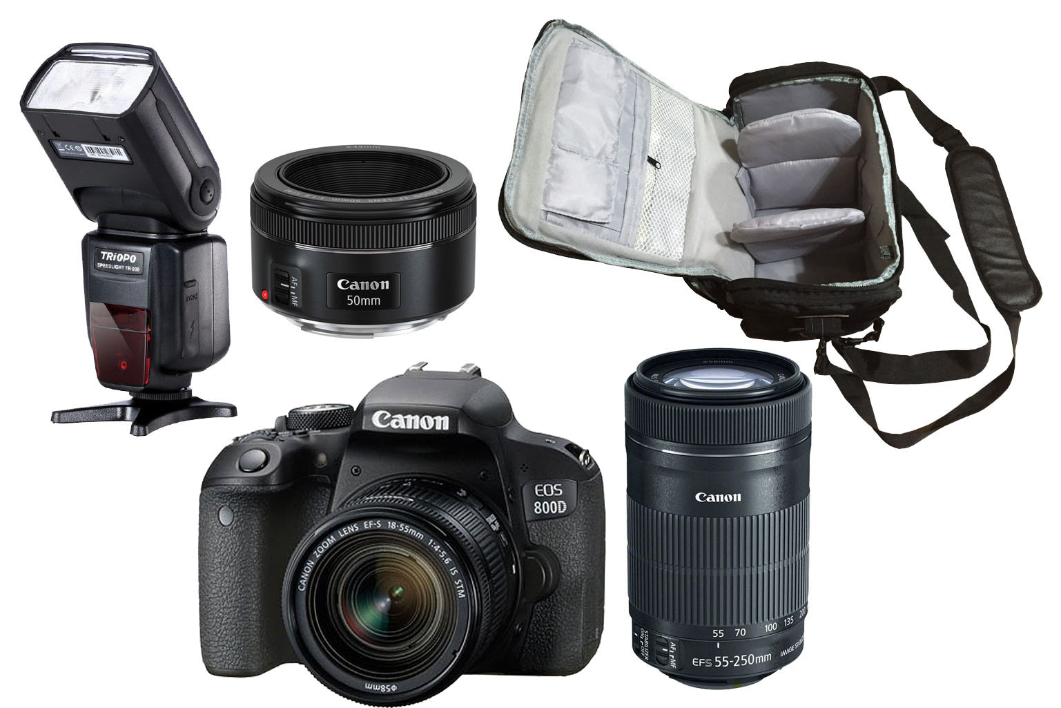 Canon EOS 800D 18-55 + 55-250 + 50 Tri Lens + Camera Bag +