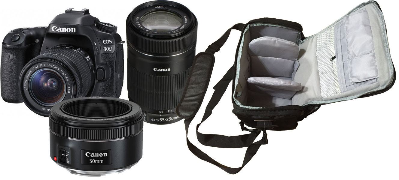 Canon Eos 80d 18 55 250 50 Tri Lens Camera Bag Kit Wi Fi Dslr With 200mm 55mm 250mm 50mm Pro Next Day Delivery
